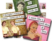 1x1 Digital Collage Sheet Retro Ladies With an Attitude Quotes Scrabble Tile Images For Jewelry Square Words Sayings