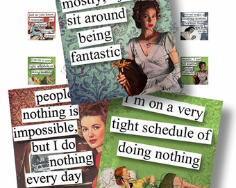 Retro Brazen Broads 1B Quotes 1x1 Digital Collage Sheet Scrabble Tiles Square Inch Images For Jewelry Words Sayings Typography DIY