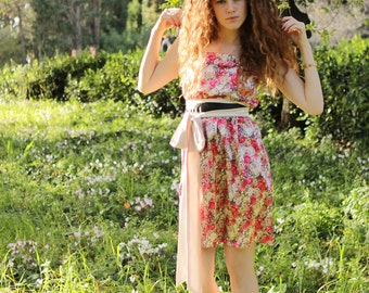 Women's dress  Floral Bridesmad  with Long Belt, Prom ,waisted in Red and blush pink satin