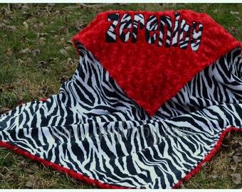 Zebra Blanket - Zebra Minky - Plush Red Minky Swirl  Personalized/Appliqued  - Baby Girl - Baby Boy - Multiple Sizes