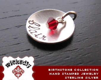 Birthstone Collection - ASHTON with crystal personalized charm - Engraved Charm - Personalized Jewelry