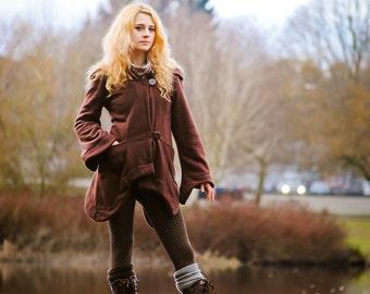 Women's Fleece Spring Isolde Jacket, Elven Woodland Hoodie, Festival Goddess Burning Man Clothing, Vegan Fleece Faerie Coat, Boho Hippie