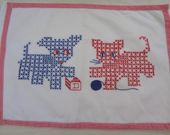 Vintage Cat and Dog Pillow Cover / Cross Stitch / Shabby Chic / Nursery Decor