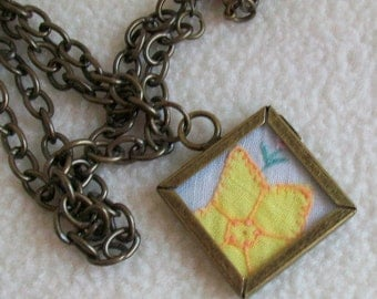 Daffodil in a frame necklace  Vintage applique embroidery  snippet  Framed locket pendant  Bronze Findings