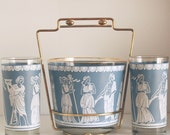 jeannette corinthian glasses ice bucket caddy mid century barware accessories vintage
