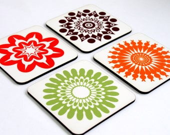 Coaster set,Drink coasters,Set of four wooden coasters,retro coasters,Green orange Geometric coasters,printed coaster,hostess gift idea
