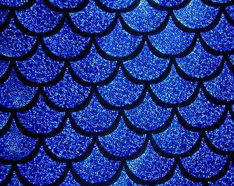 Royal Blue on Black Large Fish Scale Mystique  Lycra Fabric