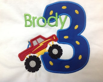 Birthday Shirt Monster Truck 1st Birthday 2nd Birthday 3rd Birthday GreatStitch Monster Truck Royal and Red Boy Birthday Shirt