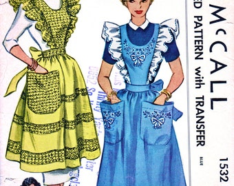 McCall Pattern 1532 - Vintage Sewing Pattern  - Misses' Ruffled Full Pinafore or Half Apron with Pockets - UNCUT - Size 12-14