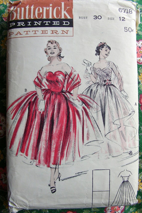 1950s Strapless DREAMY Evening Gown and Stole -  RARE - Butterick Pattern 6718 - Bust 30