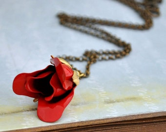 beauty and beast necklace, rose rose necklace, vintage flower, gold flower, long necklace, RED ROSE BUD