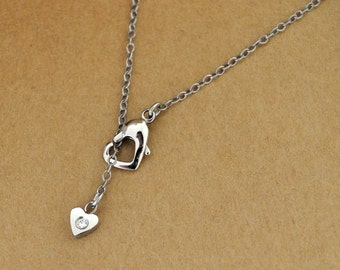 PETITE HEART NECKLACE oxidized sterling silver necklace with surgical steel heart charm and clasp
