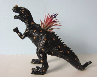 Upcycled Toy Planter - Black T-Rex with Gold Spots and Air Plant