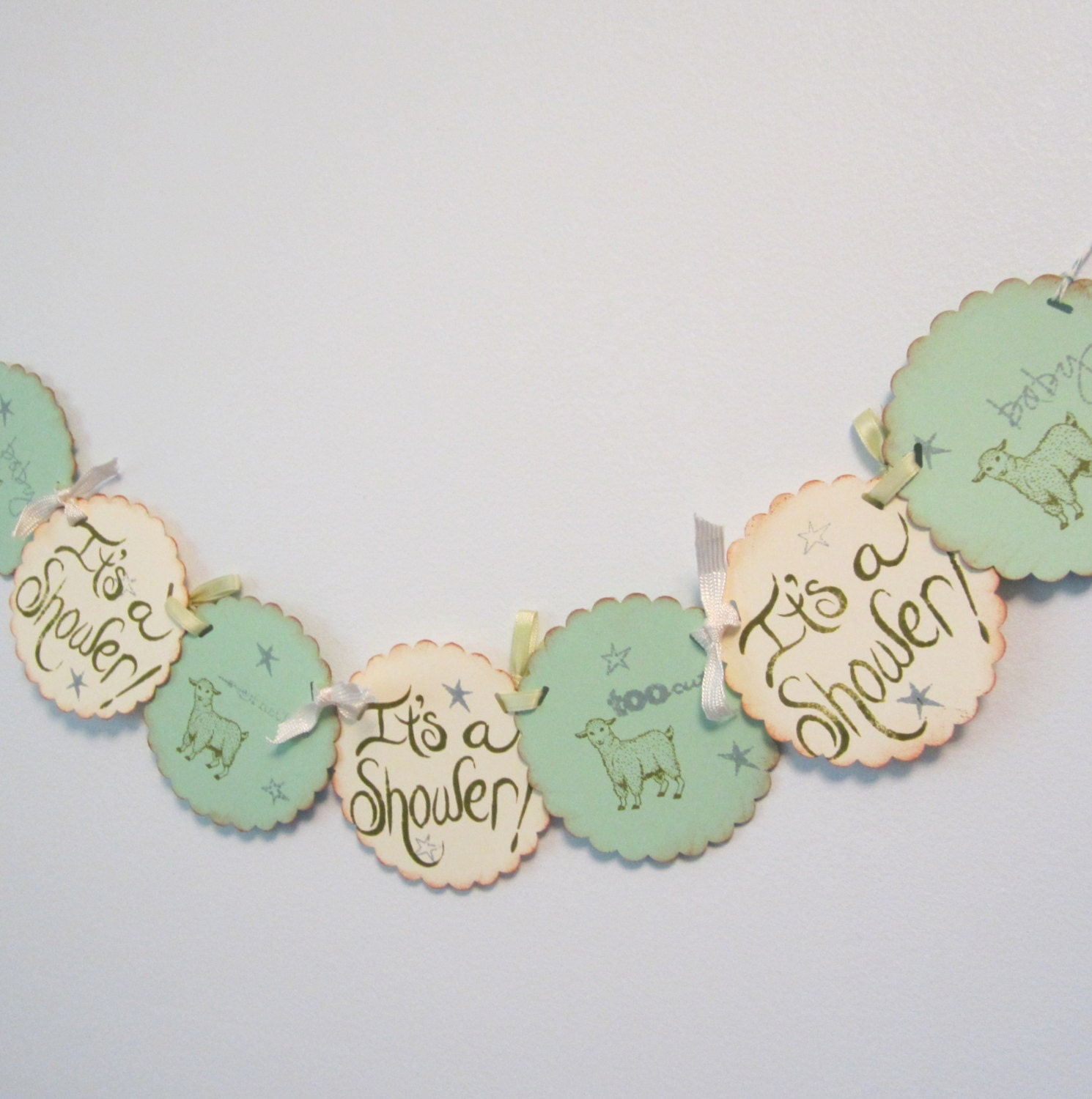 mint green baby shower banner vintage lamb theme