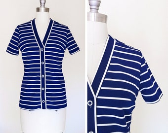 Vintage 60s Striped Blue and White Mod Nautical Top