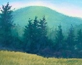 Original Watercolor Landscape painting of Mountains and Field in Lyndonville Vermont