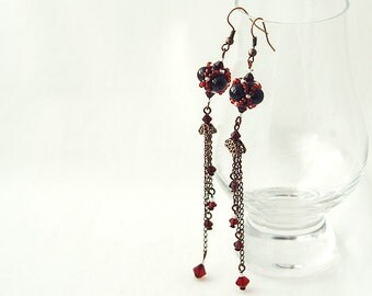 Garnet Long Earring With Swarovski Crystal Seed Beads And Copper Chain