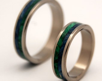 Wooden Wedding Rings, titanium wedding rings, titanium rings, mens ring, womens ring, eco friendly, green wedding - ON SEA and on LAND set