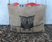 Eco-Friendly Vintage Owl Market Tote Bag, Handmade from a Recycled Coffee Sack