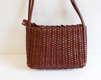 Vintage Brown woven Purse Handbag
