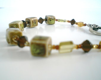 Bracelet Lime Green Raku Ceramic square cut crystal beaded