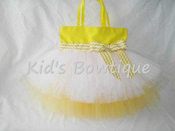 Personalized Easter Basket Bag - Chevron Ribbon Monogrammed Tutu Tote Bag - Yellow Chevron Bag