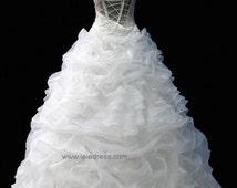 One Shoulder Organza Ruffle Ball Gown Wedding Gown