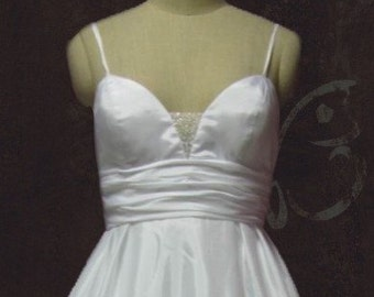 Simple Elegant A-line Low Back Empire Waist Wedding Gown with Spaghetti Straps