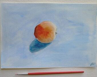 Watercolor Apricot Painting- Original Art- 6x9 - Still Life, Kitchen- Orange, Blue