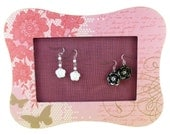 Pink Butterfly Jewelry Display Flower Peony Spring Fuscia Stud Earring Holder Table Top Pastel Girl