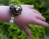 Newborn Baby Rosette Bracelet, Glass Bead Pearl Bracelet with fabric flower, photo prop, baby shower gift, pale pink, moss green