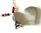 Paris in love necklace, heart shape aluminium pendant, valentine gift, Charity item