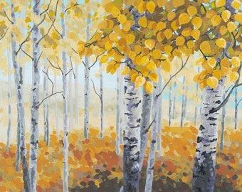 Aspen Landscape Impressionist Painting - Print