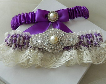 Wedding Garter Set Purple With Ivory Chantilly Lace Pearl And Rhinestone Embellishment