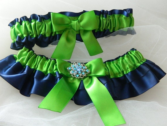 Wedding Garter Set Apple Green And Navy Blue With Blue Rhinestone Jewel