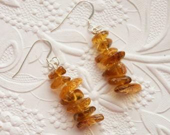 Beautiful Golden Greenish Honey Natural Baltic Amber Silver Dangling Earrings