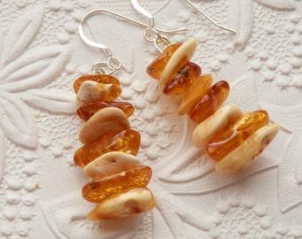 Beautiful Honey Butterscotch Natural Baltic Amber Silver Dangling Earrings