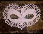 I Heart Love You Lace Masquerade Mask  Crochet Pattern PDF Costume Photo Prop Fantasy Dress Up