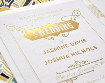 Wedding Invitation, Gatsby Wedding Invitation, Gold Foil Invitation, Art Deco Invitation, Art Deco Wedding