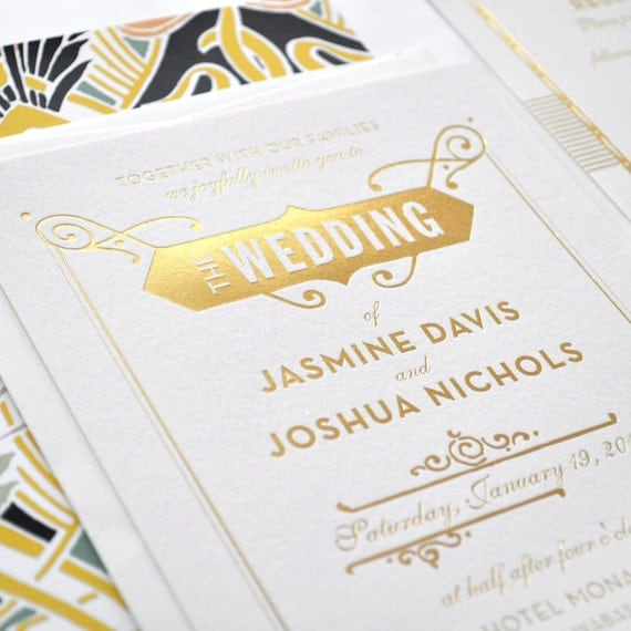 gold foil wedding invitation gatsby wedding by hellotenfold With gold foil wedding invitations etsy
