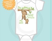 Personalized I'm getting a Baby Cousin Neutral Tee Shirt or Onesie with Due Date of Baby Cousin (09182012a)