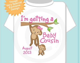 Personalized I'm getting a Baby Cousin Girls Tee Shirt or Onesie with Due Date of Baby Cousin (09182012c)