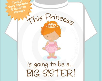 Girl's Red Headed Princess is going to be a Big Sister Tee Shirt or Onesie, personalized Pregnancy Announcement (01072013c)