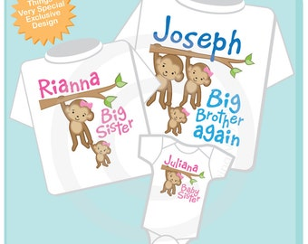 Sibling Monkey Shirt Set of Three, Big Brother again Shirt, Big Sister, and Baby Sister,  Personalized Shirt or Onesie (04242013a)