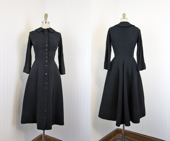 1940s Princess Coat - Vintage 40s Dress - Black Rayon Full Skirt M - Princess Noir