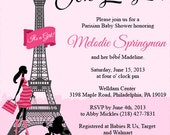 Poodles and Paris Baby Shower Invitation