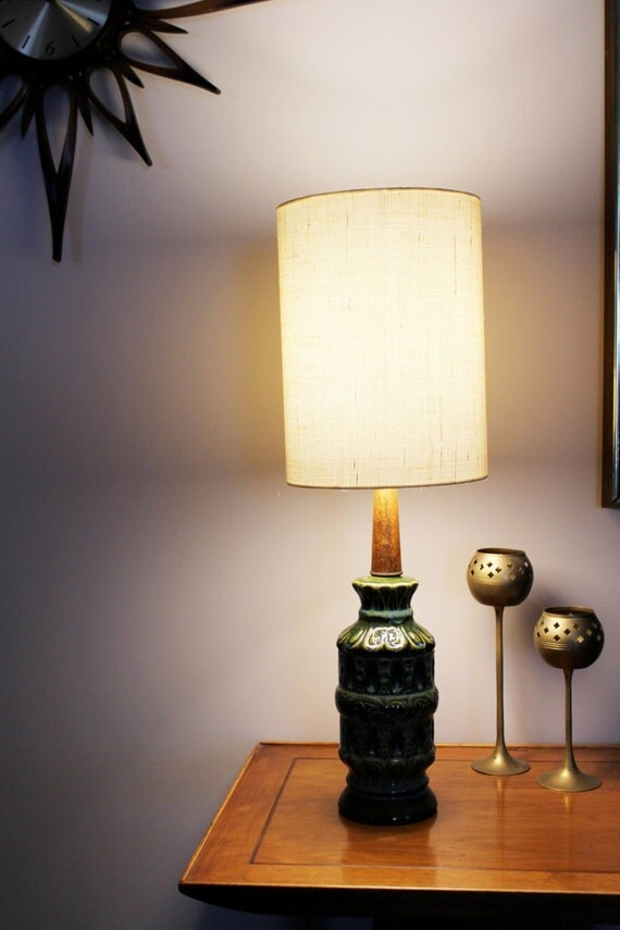 Mid century modern ceramic table lamp by rhanvintage on etsy