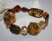 Chunky Stretch Bracelet Glass Crystals Pave Beads Green Amber Bronze Rust Earthy Fall For Her Bohemian Boho Chic