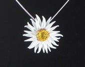 White Daisy Polymer Clay Necklace
