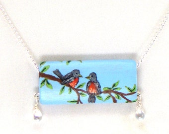 Birdies on a Branch Necklace, Hand Painted on Wood, Very Sweet and Special, One of a Kind